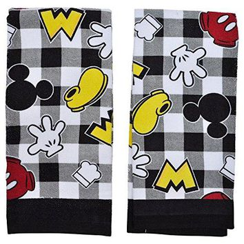 Disney Dish Towels 2 Piece Set Kitchen Cloths (Mickey Black & White)