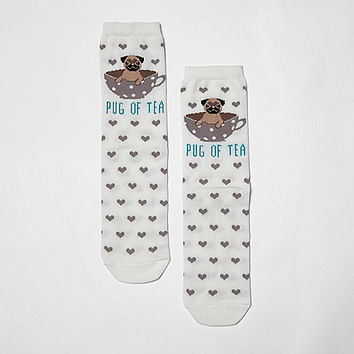 Cream 'pug of tea' heart socks - Tights & Socks - women