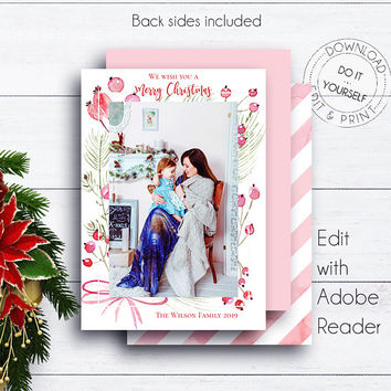 Editable Photo Christmas Card, Card Template, Christmas Greeting, Cards Christmas, PDF Photo Card, Editable Photo Card, Printable,Watercolor