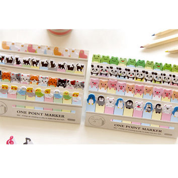 1 x cartoon animals mini memo pad bookmark sticky notes post it kawaii stationery school supplies papelaria