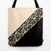 Elegant Peach Ivory Black Floral Lace Color Block Tote Bag by Girly Trend