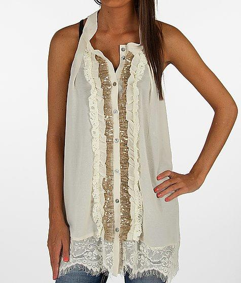 BKE Boutique Button Front Tank Top