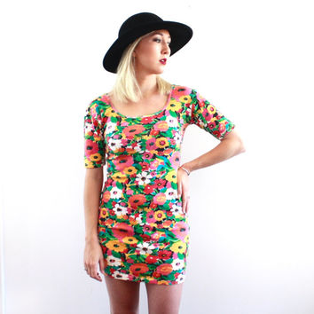 90's Express Tricot Colorful Floral Print Mini Dress M