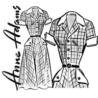 1950s Dress Pattern Bust 34 Uncut Anne Adams 4797 Fit and Flare Shirtwaist Dress with Wing Cuffs Womens Vintage Mail Order Sewing Patterns
