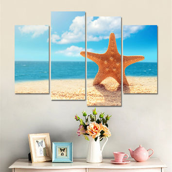 Modern Nordic Landscape Sea Shell Print Poster Wall Art Canvas Pictures for Kids Room Oil Painting Home Decor No Frame 4 Pieces