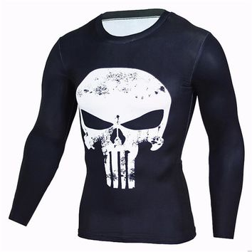 Compression Shirts Long Sleeve T Shirt Men Punisher Skull Workout Crossfit T Shirt Fitness Tights Bodybuilding Men Tops Tees