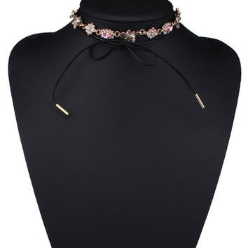 Artificial Crystal Floral Bowknot Choker Necklace