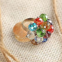 Ring with multi-colored beads handmade summer bright accessories women's fashion