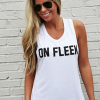 On Fleek Muscle Tank: Private Party {White}