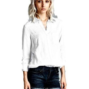 Chambray Button Down Shirt, White
