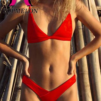 Topmelon 2017 Sexy Bikini Women Solid Micro Bikini Brazilian Bikini Low Waist Beachwear Bathing Suit Triangle Swimwear Biquini