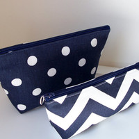 Navy White Chevron Polka Dot Monogram Waterproof Lining Zippered Cosmetic Make Up Bag/Pouch/Accessory/Gadgets/Bridesmaid Gift