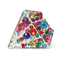 Rainbow Crystal Gem Ring Adjustable Silver Tone RA40 Vintage Diamond Shaped Fashion Jewelry