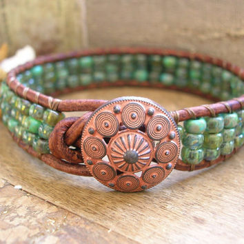 Beachy wrap bracelet - Sea Urchin - leather, boho coastal, turquoise bracelet, seafoam, beach jewelry, bohemian jewelry stacking bracelet