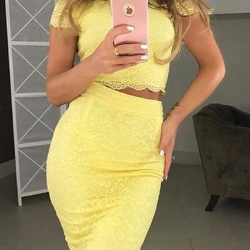 Yellow Patchwork Lace 2 Piece Bodycon Cute Midi Dress