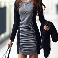 Black and Gray Square Collar Long Sleeves Mini Dress