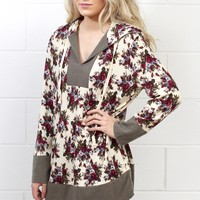 Floral Block Hooded Tunic {Cream Mix}