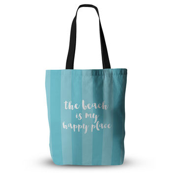 "Sylvia Cook ""Beach is My Happy Place - Blue"" Aqua Typography Everything Tote Bag"