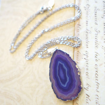 Glimmering Amethyst Purple Agate Jewelry, Agate Slice Necklace, Geode Necklace, Druzy Jewelry