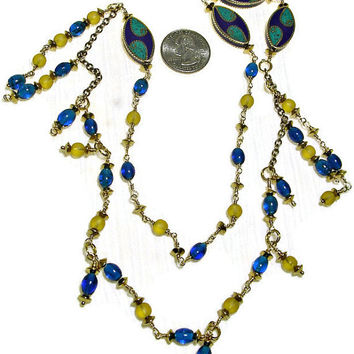 Mosaic Inlay Accents necklace in an Asymmetric design with Blue & Gold Wire Wrapped Beads