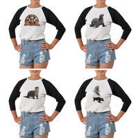 Women's Sea Lion Printed Elbow Sleeves T- Shirt WTS_03