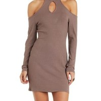 Taupe Ribbed Mock Neck Cold Shoulder Dress by Charlotte Russe