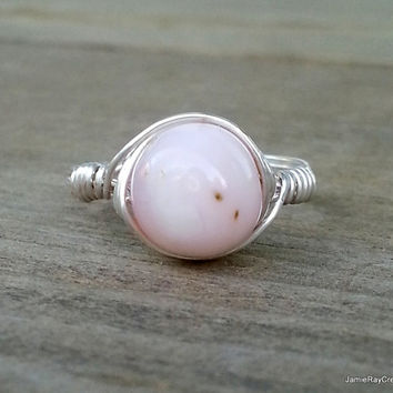 Pink Peruvian Opal Ring, Silver Wire Wrap Ring, Boho Pink Opal Ring, Pink Gemstone Ring, Silver Pink Ring, Bohemian Wedding Wirewrap Jewelry