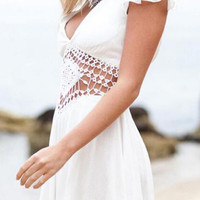 White Lace Applique Ruffled Sleeve Pleated Romper