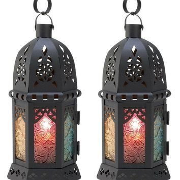 Set of 2 Enchanted Rainbow Candle Lanterns