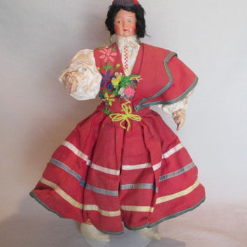 Doll, Vintage, Ethnic Traditional Costume, Unidentified Country, Detailed Hands, Movable Arms, Hand Made, Unusual Hat, Folk Art Doll