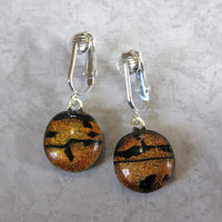 Orange Dangle Clip On Earrings, Dichroic Earrings, Non Pierced Earrings, Clip On Fashion Earrings - Orange Cove - 1558 -2
