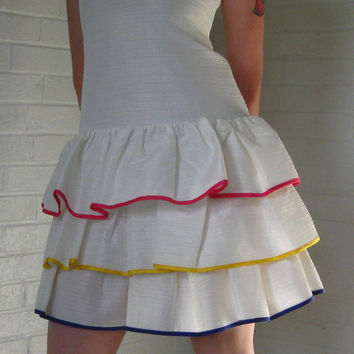 Awesome 80s Party dress White with pink blue by JunkStoreAddict