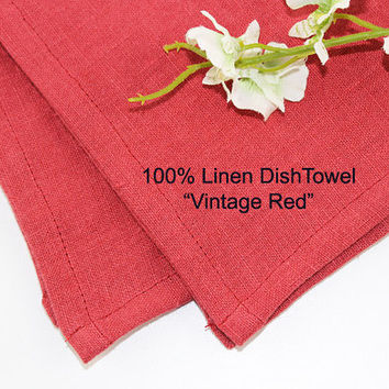 "Vintage Red Linen Dish Towel or Tea Towel, 100% Linen Dish Towel, Pure Linen Tea Towel, 16""x25"""