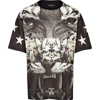 River Island MensBlack mesh Tiger print spliced t-shirt