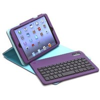 Aduro FACIO Case with Bluetooth Removable Keyboard for Apple iPad Mini (Purple/Turquoise)
