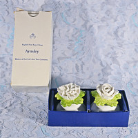 FREE SHIPPING Aynsley Salt And Pepper Shakers, Vintage Fine Bone China, Rose And Carnation