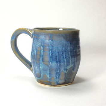 Large Blue Handmade Ceramic Pottery Mug,14 oz. Coffee Mug,Beer Mug,Hot chocolate mug,Ready to Ship,blue pottery mug,blue ceramic mug