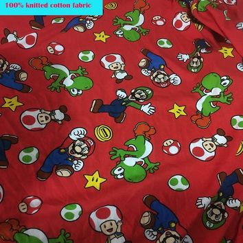 Super Mario party nes switch Soft Lucky Red Jersey Fabric Cartoon  Printed Fabric knitted Cotton Fabric Sewing Material diy Baby T-shirt Clothing AT_80_8