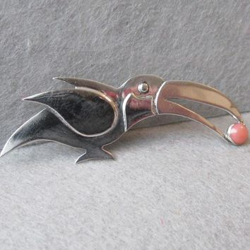 Great Falls Metal Works Vintage Sterling Silver & Coral TOUCAN Tropical Bird Pin Brooch