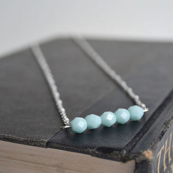 Mint Blue Necklace, Pastel Mint Czech Glass Five Stone Necklace, Aqua Blue Sparking Jewelry, Bar Mint Glass Necklace