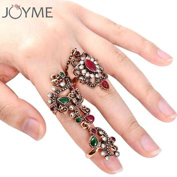 Vintage Turkish Jewelry 2 Pcs Full Finger Ring Sets For Women Knuckle Ring Set Anel Carved Flower Red Resin Bijoux Femme