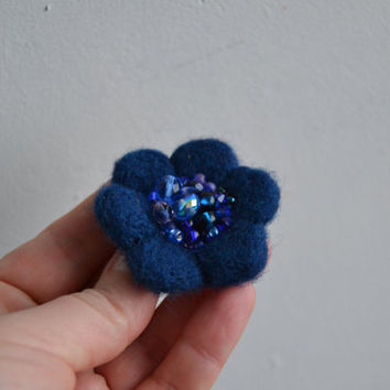 Blue Wool Felt Flower Little Needle Felted Brooch,Felt Flower Pin Blue Beads,Wool Flower Brooch, Felted Flower,Corsage Brooch,Woolen Brooch