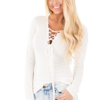 Ivory V Neck Top with Criss Cross Lace Detail