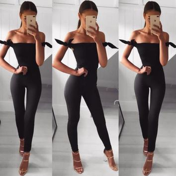 Summer Women Sexy Jumpsuits Ladies Sexy Fashion Skinny Off Shoulder Slim Jumpsuit Women Ladies Clothing