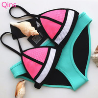 Swimwear Woman Neoprene Bikinis Women Fashion New Summer 2016 Sexy Swimsuit Bath Suit Push Up Bikini set Bathsuit Biquini Q1