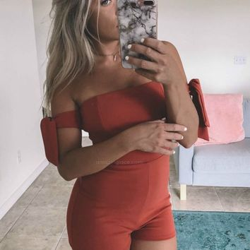 About The Hype Rust Romper With Tie Sleeves