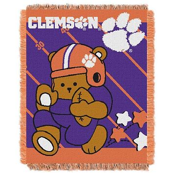 "Clemson Tigers NCAA Half Court Baby 36""x 46"" Triple Woven Jacquard Throw"