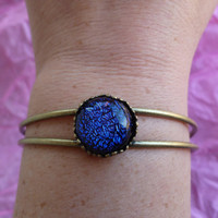 Princess Bracelet with Blue Celestial Crystal, One Size Fits Most, Princess Bangle with Blue Cabochon