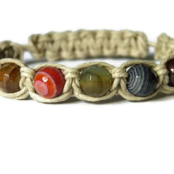 Rustic natural hemp macrame rainbow faceted fire agate bracelet summer surf jewelry beach boho chic gypsy stackable bracelet