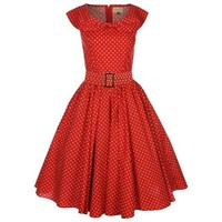 Lindy Bop 'Hetty' Red Polka Dot Bow Shawl Collar Vintage 1950's Dress